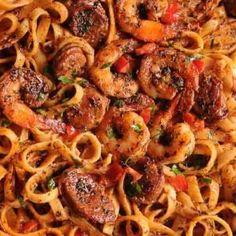 Cajun Shrimp and Sausage Pasta Creamy Sausage Pasta, Shrimp And Sausage Pasta, Creamy Shrimp Pasta, Sausage Pasta Recipes, Cajun Shrimp Pasta, Pasta Dinner Recipes, Shrimp Pasta Recipes, Shrimp Dishes, Cajun Recipes