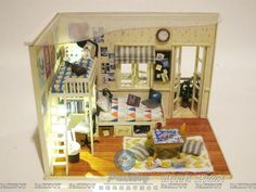 Cute DIY Handmade Dollhouse Miniature Wooden Toy House Model with furniture and light US $56.50