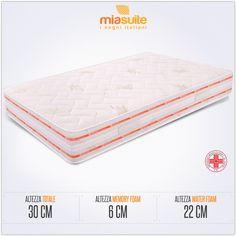 Il materasso memory una piazza e mezza Lux 30 è composto da un doppio strato: una lastra in waterfoam alta 22 cm, ed una in memory foam alta 6 cm, rivestite con fodera in tessuto aloe vera.