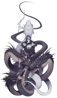 original, nonhuman/girl / original_人外×少女 / July 24th, 2020 - pixiv Anime Fantasy, Dark Fantasy Art, Fantasy Artwork, Fantasy Character Design, Character Design Inspiration, Character Art, Creature Concept Art, Creature Design, Fantasy Creatures