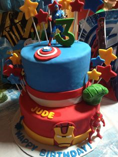 3rd birthday - Captain America, Hulk & Iron Man cake