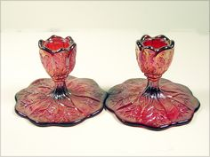 Imperial Glass Red Carnival Candlesticks  Vintage organic leaf candlesticks in red carnival glass.