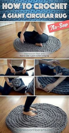 Her Technique for Crocheting a Rug Is So Easy – No Crochet Hook Needed! How to Crochet a Giant Circular Rug – No-Sew >>> Come fare un tappeto tondo gigante, catenella, con le mani! Crochet Home, Crochet Crafts, Hand Crochet, Sewing Crafts, Crochet Rugs, Finger Crochet, How To Crochet, Crochet Motif, Fabric Crafts
