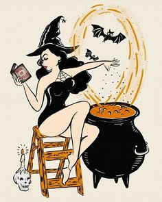 Vintage Halloween- Pinup Witch with her Book of Spells – El Rodeo Halloween Pin Up, Retro Halloween, Halloween Tags, Halloween Designs, Halloween Drawings, Halloween 2018, Happy Halloween, Halloween Spells, Halloween Horror