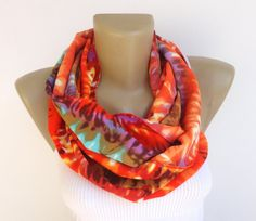 spring abstract print scarf ,women scarf ,infinity scarves ,colorful circle scarf , summer fashion scarf on Etsy, $19.00