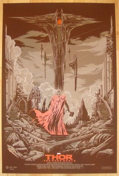 """Thor The Dark World - silkscreen movie poster (click image for more detail) Artist: Ken Taylor Venue: N/A Location: N/A Date: 2013 Edition: Artist edition of 50; numbered Size: 24"""" x 36"""" Condition: Mi"""