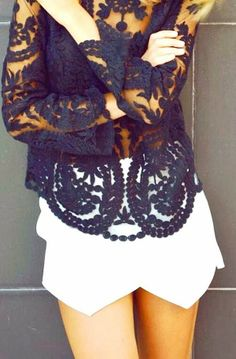 Black Lace Blouse With White Skirt
