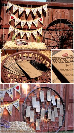 cowboy western baby shower centerpiece    ... cards for mom and baby and pinned then to the wheel. Such a cute idea