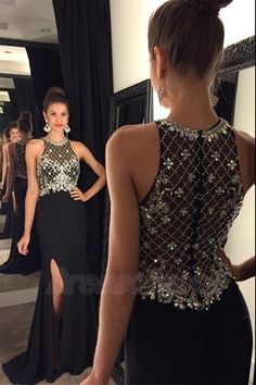 Sexy Long Front Split Black Prom Dresses,Gorgeous Prom Gowns,Modest Beading Evening Gowns  http://www.luulla.com/product/590277/sexy-long-front-split-black-prom-dresses-gorgeous-prom-gowns-modest-beading-evening-gowns
