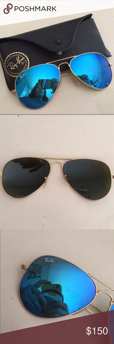 Blue/Gold Ray Ban Aviators Worn a few times, but still in great condition! Taking offers :-) Ray-Ban Accessories Sunglasses