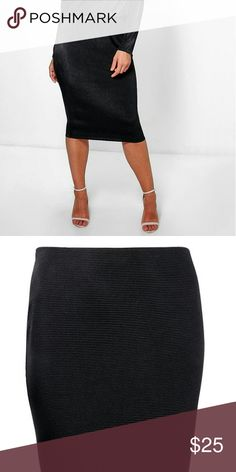 Plus Size Ribbed Midi Skirt *NWT plus size ribbed midi skirt in black. Size 18. Skirts Midi