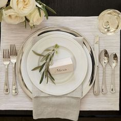 Wedding Gift Registry Inspiration With Crate and Barrel Porcelain Dinnerware, Dinnerware Sets, Dinner Napkins, Dinner Plates, Crate And Barrel, Barrel Table, Table Presentation, Silver Charger Plates, Plate Chargers