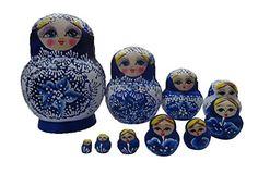 Leegoal 10pcs Russian Nesting Doll Handmade Wooden Rich F…