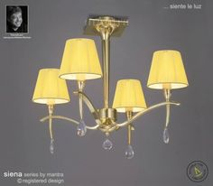 The Siena Semi Ceiling Light has a polished brass finished with glass decals Semi Flush Ceiling Lights, Ceiling Lamp, Wall Lights, Siena, Polished Brass, Mantra, Contemporary, Modern, Clear Glass