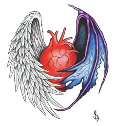 Human Heart With Angel And Devil Wing Tattoo Design Angel Devil Tattoo, Demon Tattoo, Angel And Devil, Demon Wings, Ange Demon, Half Angel Half Demon, Angel Wings Drawing, Wing Tattoo Designs, Angels And Demons