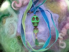 Dead for Life Skull Necklace Green Day of the by GratefulBeads, $15.00