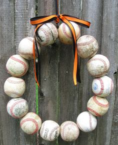 Baseball wreath---just put a Brewers or Twins bow on it :)