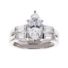 DiamonArt® Cubic Zirconia Sterling Silver Marquise-Cut Bridal Ring Set  found at @JCPenney