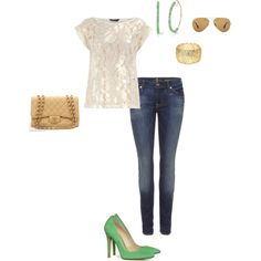 gold and beige, with sea foam green  created by riri22 on Polyvore