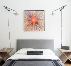An Art-Filled East Village Bachelor pad – Homepolish Bachelor Pad Decor, Bright Rooms, East Village, Cozy Bed, Bedroom Storage, Beautiful Space, Floating Nightstand, Sweet Home, Interior Design