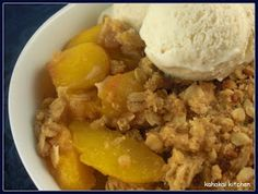 Jamie Oliver Apple Crumble recipe adapted to a peach crumble recipe