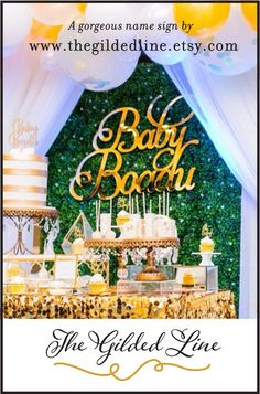 Gold Mirror Baby Name Room Decoration, Gold Above the Crib Nursery Decor First Birthday Parties, Birthday Party Decorations, Baby Shower Decorations, First Birthdays, Baby Name Signs, Baby Names, Shower Inspiration, Food Inspiration, Hawiian Party