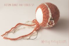 Gorgeous soft orange bonnet made from cozy alpaca blend yarn, paired with a matching fall-inspired tieback. Bonnet and tieback can be used together or separately. Perfect for the fall season!* Ready to Ship *