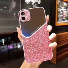iPhone Cute Phone Cases Girly Makeup Mirror Glitter Cover For iPhone 12 Mini 11 Pro XS MAX 7 8 Plus X SE 2020 XR 12Pro XSMAX | Touchy Style Cute Iphone 5 Cases, Iphone Phone Cases, Iphone 7, Mirrors For Makeup, Glitter Phone Cases, Iphone Models, Iphone 8 Plus, Contrast Color, Glitters