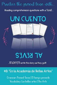 """Click for a fun writing activity to practice the present tense in Spanish! Modeled like a reading comprehension worksheet, this """"cuento al revés"""" asks students to create the story as they go! Fun Writing Activities, Vocabulary Activities, Classroom Activities, Classroom Ideas, Spanish Vocabulary, Teaching Spanish, Spanish Grammar, Spanish Lesson Plans, Spanish Lessons"""