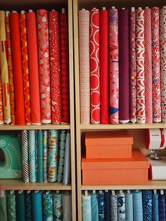 Why have I never thought to store fabric like this. So pretty