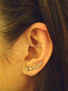 Crystal 7 CZ Line Ear Cuff, Diamond Ear Jacketm Ear Climber Earrings - Gold and Silver