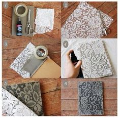 DIY Notebook! This would be cool, but most of the notebooks I have are spiral -_-