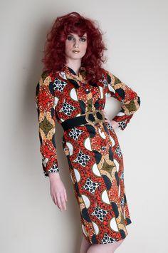 LANVIN vintage 60s / 70s silk shirt dress