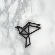 Origami mini dove -kaulakoru, musta | katoko