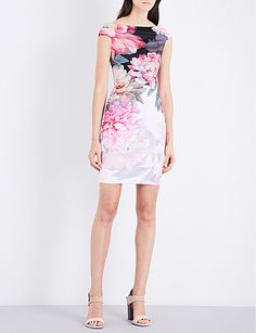 2c5473fc23c95b TED BAKER Emly painted posie off-the-shoulder crepe dress Ted Baker Womens