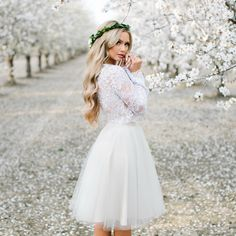 Audrey Lace Top and Emma tulle skirt by Bliss Tulle // Model: Stephanie Danielle // Anna Perevertaylo Photography Short Lace Wedding Dress, Country Wedding Dresses, Boho Wedding, Spring Photography, Girl Photography, Fashion Photography, Photography Flowers, Artistic Photography, Tutu Rock