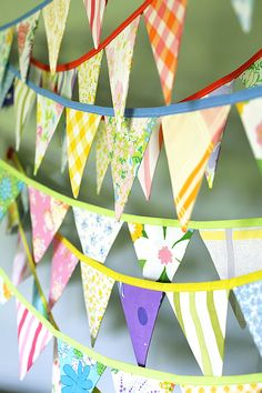 Party Bunting  Bunting Banner  Pennant Banner  Flag made with vintage fabrics by tinamagee, $27.50