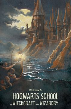Harry Potter Poster Hogwarts Castle Travel by TheGreenDragonInn, $16.00