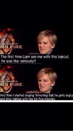 Jennifer Lawrence's new hair - pixie cut #catching #fire #liam #hemsworth #wrecking #ball
