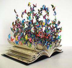 David Kracov - Book of Life Wow. David Kracov - Book of Life Wow. David Kracov - Book of Life Wow. Book Art, Butterfly Books, Paper Butterflies, Butterflies Flying, Butterfly Artwork, Butterfly Quotes, Rainbow Butterfly, Paper Art, Paper Crafts