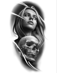 Woman and skull tattoo ideia procriete black and grey Angel Tattoo Designs, Tattoo Sleeve Designs, Sleeve Tattoos, Clock Tattoo Design, Skull Tattoo Design, Lion Head Tattoos, Skull Tattoos, Girl Face Tattoo, Wicked Tattoos