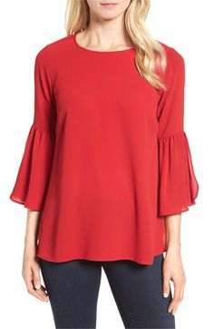 Main Image - Bobeau Split Ruffle Sleeve Top (Regular & Petite)