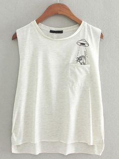 Grey Pocket Kitty Embroidery Casual T-shirt