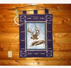 "crown royal quilts pictures | Crown Royal Quilt Wall Hanging ""Deer w/ antler shed"" 