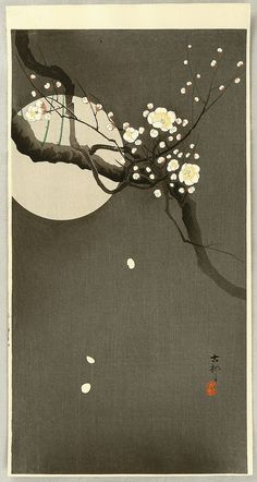 小原古邨: Flowering Plum and Moon - Artelino