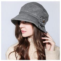 Elegance ladies flower bucket hat for winter thin face winter wool hats f128febea060