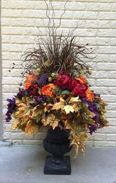 "Fall Urn Insert or Urn filler.  Golds, purples, reds and oranges.  ""Autumn Ambiance"""