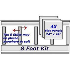"""96""""L, Adjustable Height Flat Panel Wainscoting Kit Wall Kit - 164.99"""