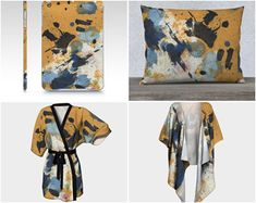 Four items, one painting. Original abstract art by me transformed into wearable art for you. Check these out and more at paperwerks.etsy.com #etsy