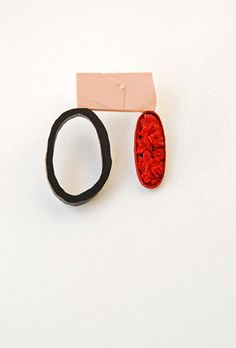 brooch 2011 enamel on copper, ebony, reconstructed coral, glass, gold Danni Schwaag
